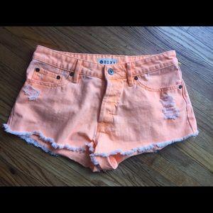 Roxy Neon Orange Distressed Shorts